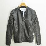 Pre-Order เสื้อแจ็คเก็ตหนังแท้ สไตล์เรโท แบบย้อนยุค สีดำ