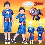' ( 4-6-8 ) ชุดแฟนซี เด็กผู้ชาย Captain America Super Hero - The Avengers สีน้ำเงิน เสื้อแขนสั้น ขาสั้น ลายเกราะ มีไฟที่หน้าอก เพื่อให้คุณหนูๆได้สนุกกับชุดsuper hero คนโปรดตามจิตนาการ ชุดสุดเท่ห์ ใส่สบาย ลิขสิทธิ์แท้