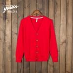Pre-Order เสื้อสเวตเตอร์ถัก เสื้อคาร์ดิแกน ผ้าฝ้าย คอวี กระดุมหน้า สีแดง