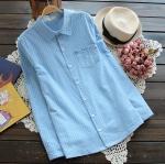 [พร้อมส่ง] เสื้อเชิร์ตลายสก๊อตสีพาสเทลหวาน มีสีฟ้า