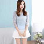 Pre-order เสื้อผ้าลูกไม้สีฟ้าอ่อน ผ้าออแกนซ่า คอปาด แขนสามส่วน