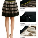 พร้อมส่ง กระโปรงบาน จีบรอบตัว ผ้าตาข่าย โปร่งบาง สไตล์เกาหลี สีดำ ลด50%