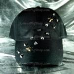 หมวกแก๊ป Cap สีดำ แต่งหนาม ดาว 2 แถว พาดหมวก