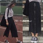 [Preorder] กางเกงขายาวสีดำสไตล์เรโทร สามารถรูดซิปแปลงเป็นกระโปรงได้