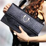 พร้อมส่ง กระเป๋าคลัทช์ หนัง PU เนื้อมันเป็นเงา กระเป๋าสตางค์ใบยาว กระเป๋าแฟชั่นเกาหลี กะเป๋าแฟชั่นผู้หญิง lสีดำ