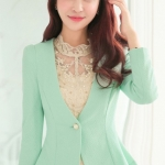 Pre-Order เสื้อสูททำงาน เสื้อสูทผู้หญิง สูทลำลอง แขนยาว แฟชั่นชุดทำงานสไตล์เกาหลี สีฟ้าอ่อน
