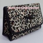 กระเป๋าเครื่องสำอางค์ นารายา ผ้าคอตตอน ลายเสือดาว มีกระจกในตัว Size L (กระเป๋านารายา กระเป๋าผ้า NaRaYa)