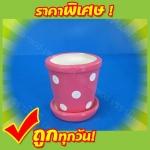 กระถาง3นิ้ว(กลม)-ลายจุด(คละสี)(ชุด กระถาง+จานรอง)