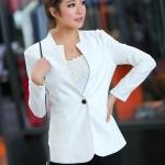 Pre-Order เสื้อสูทผู้หญิง ประดับผ้าลูกไม้ แฟชั่นเสื้อผ้า สไตล์เกาหลี แขนยาว สีขาว ไซส์ใหญ่มาก