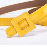 Pre-Order เข็มขัดผู้หญิง เข็มขัดแฟชั่นหนังแก้ว หัวอัลลอย เส้นเล็ก สีลูกกวาด ยี่ห้อ Leoni excellent สีเหลือง