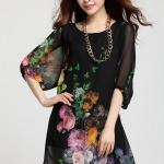 (Pre-Order) เดรสผ้าชีฟอง แขนยาว มีซับใน ลายดอกโบตั๋น พื้นสีดำ งานน่ารักมาก อารมณ์หวาน แฟชั่นสไตล์เกาหลี