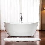 อ่างอาบน้ำตั้งพื้นทรงเรือ ขนาด 1.5 -1.8เมตร อ่างอาบน้ำอะคริลิค อ่างแช่ตัว อ่างสปา อ่างอาบน้ําราคาถูก สุขภัณฑ์ อุปกรณ์ตกแต่งห้องน้ำ ออกแบบห้องน้ำสวยๆ 1.5M-1.8M Luxury Acrylic Freestanding Soaking Bathtub (B04)