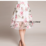 (Pre-Order) กระโปรงทำงานเอวสูงทรงสุ่ม กระโปรงชีฟองซีทรู กระโปรงบานผ้าสองชั้น ผ้าด้านในสีขาว ผ้าด้านนอกลายดอกไม้สีชมพู