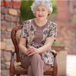 Pre-Order เสื้อผ้าผู้หญิง อายุ 60 up ผ้าพิมพ์ลายเพรสลี่โทนสีกะปิพิมพ์ลายสีน้ำเงิน แขนสั้น คอกลม กระดุมหน้า