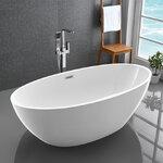 อ่างอาบน้ำตั้งพื้นทรงรี ขนาด 1.5 -1.75เมตร อ่างอาบน้ำอะคริลิค อ่างสปา อ่างแช่ตัว อ่างน้ำ สุขภัณฑ์ อ่างอาบน้ําราคาถูกอุปกรณ์ตกแต่งห้องน้ำ แบบห้องน้ำสวยๆ 1.5M-1.75M Modern Freestanding Curved Acrylic Bathtub (B02)