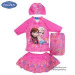 ( For Kids ) ชุดว่ายน้ำเด็กผู้หญิง Disney Frozen สีชมพู เสื้อแขนสั้น กระโปรงสั้น ลายเจ้าหญิงอันนา เจเาหญิงเอลซ่า ชุดว่ายน้ำเด็กผู้หญิง เจ้าหญิงดิสนีย์ ของแท้