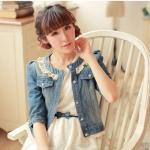 พรีออเดอร์ เสื้อแจ็คเก็ตผ้ายีนส์ เวอร์ชั่นเกาหลี 2014 เสื้อแขนสามส่วน ประดับผ้าลูกไม้