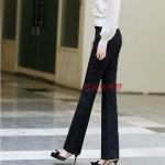 (Pre-Order) กางเกงทำงานผู้หญิง กางเกงขายาว กางเกงทรงกระบอกตรง เอวสูง ผ้าฝ้าย สีดำ