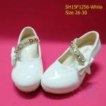 15F1256 White รองเท้าเด็กผู้หญิง หนังแก้วสีขาว ใส่ไปงานแต่ง งานเลี้ยง ไซส์26-30