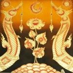 พญานาค คู่ ดอกบัวบาน ( วาสนา อำนาจ การงานเบ่งบาน เหมือนดอกบัว) ขนาด 1 x 1 เมตร