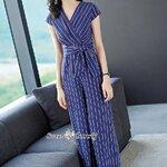 จั๊มสูทแฟชั่น ชุดจั๊มสูท+ผ้าผูกเอวงานเกาหลี ผ้าสีน้ำเงินเนื้อดีมีน้ำหนัก