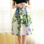 Pre-order กระโปรงพลีท จีบใหญ่ ผ้าขีฟองพิมพ์ลาย Campanula Flowers แฟชั่นเรโทรย้อนยุค กระโปรงยาว