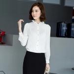 (Pre-Order) เสื้อผ้าแฟชั่นเกาหลีปี 2014 เสื้อเชิ้ตแขนยาว คอจีบ เสื้อเชิ้ตทำงาน เสื้อผ้าทำงาน กระดุมหน้า ผ้าชีฟองสีขาว