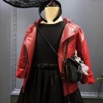เสื้อแจ็คเก็ตหนัง Pu สีแดง