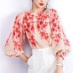 Pre-order เสื้อผ้าชีฟองย่น คอกลม แขนพอง แขนสามส่วน พิมพ์ลายสีแดง เสื้อผ้าแฟชั่นเกาหลี
