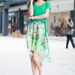 (Pre-Order) ชุดเดรส ผ้าชีฟอง ลายดอกไม้ สีสดใส แฟชั่นฤดูร้อน