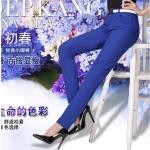 Pre-Order กางทำงานผู้หญิง กางเกงลำลอง กางเกงสแล็ค ขาตรง สีน้ำเงิน