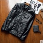 Pre-Order เสื้อแจ็คเก็ตหนัง แขนยาว หนัง PU คุณภาพดี สีดำ (03512)