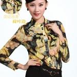 (Pre-Order) เสื้อชีฟองแขนยาว ลายทิวลิป กาแฟ-เหลือง แฟชั่นเสื้อสไตล์เกาหลีปี 2014