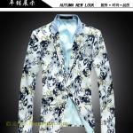 พรีออเดอร์ เสื้อสูทผู้ชาย เสื้อสูทพิมพ์ลายดอกไม้สไตล์ยุโรป เสื้อสูทลำลอง เสื้อสูททำงาน เสื้อสูทแฟชั่นเกาหลี