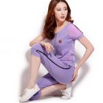 Pre-Order ชุดออกกำลังกายผู้หญิง ชุดลำลอง สไตล์สาวคล่อง เสื้อแขนสั้นและกางเกงขาสามส่วน สีม่วง