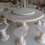 โต๊ะหินอ่อนขนาด 140 เซนติเมตร เก้าอี้ 8 ตัว โต๊ะสูง 80 เซนติเมตร + จานหมุน 70 เซนติเมตร