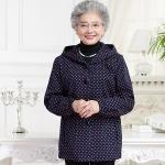 (Pre-order) เสื้อกันหนาวผู้สูงอายุ เสื้อกันหนาวผู้หญิง แฟชั่นเสื้อกันหนาว ผ้าพิมพ์ลายจุดน้ำเงินชมพู