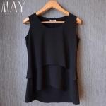(Pre-Order) เสื้อชีฟองแขนสั้น สีดำ เสื้อผ้าลำลอง สบาย ๆ แต่ดูดีมาก แฟชั่นเสื้อสไตล์เกาหลีปี 2014