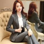 พรีออเดอร์ ชุดสูทกางเกงผู้หญิง สีเทา (เสื้อสูทแขนยาว+กางเกง) ผ้าผสม แฟชั่นเกาหลี