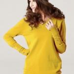(Pre-Order) เสื้อไหมพรม เสื้อสเวตเตอร์ ถักจากผ้าฝ้ายโพลีเอสเตอร์ไลก้า แฟชั่นเสื้อสไตล์เกาหลี สีเหลือง