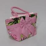 กระเป๋าถือ นารายา Summer Size S ผ้าคอตตอน สีชมพู ลายดอกไม้ ผูกโบว์ สายหิ้ว หูเกลียว (กระเป๋านารายา กระเป๋าผ้า NaRaYa กระเป๋าแฟชั่น)