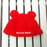 [พร้อมส่ง] หมวกไหมพรมหูหมีสีเรียบ มีสีแดง/ดำสลับขาว