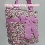 กระเป๋าสะพาย นารายา ผ้าคอตตอน ลายหยดน้ำ สีชมพู ผูกโบว์ (กระเป๋านารายา กระเป๋าผ้า NaRaYa กระเป๋าแฟชั่น)