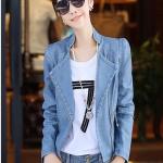 Pre-Order เสื้อแจ็คเก็ตหนัง เสื้อแจ็คเก็ตผู้หญิง เข้ารูปพอดีตัว คอจีน มีปก สีฟ้า แต่งซิปเก๋ แฟชั่นเกาหลี