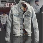 Pre-Order Jonnyrman เสื้อแจ็คเก็ตยีนส์ฟอกสี สไตล์เรโทร แบบเท่ ๆ สำหรับหนุ่มมาดเซอร์