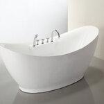 อ่างอาบน้ำตั้งพื้นทรงเรือ (ยกฐาน) ขนาด 1.7 เมตร อ่างอาบน้ำอะคริลิค อ่างแช่ตัว อ่างสปา อ่างอาบน้ำราคาถูก สุขภัณฑ์ เครื่องสุขภัณฑ์ แบบห้องน้ำสวยๆ 1.7M Acrylic Freestanding Soaking Bathtub Contemporary Style (B14)