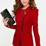 Pre-Order เสื้อสูททำงาน เสื้อสูทผู้หญิง สูทลำลอง แขนยาว แฟชั่นชุดทำงานสไตล์เกาหลี สีเเดง