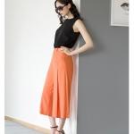 Pre-Order กางเกงขากว้าง กางเกงกระโปรง กางเกงกระโปรงลำลอง ผ้าโพลีเอสเตอร์ผสม สีส้ม