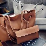 กระเป๋าสะพายหนังนิ่มวัสดุ pu ดีไซน์เรียบเก๋ทรงช้อปปิ้ง ไซส์ใหญ่สามารถจุของได้เยอะ