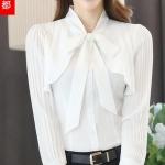 Pre-order เสื้อชีฟองสีขาว คอกลมผูกโบว์น่ารัก เรียบหรู ดูดี แขนยาว มีระบายที่อก